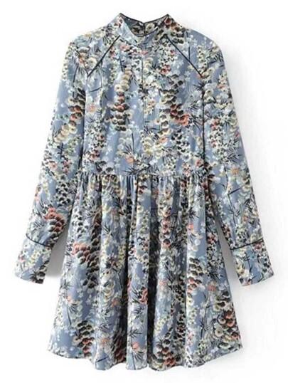 Calico Print Button Back Dress
