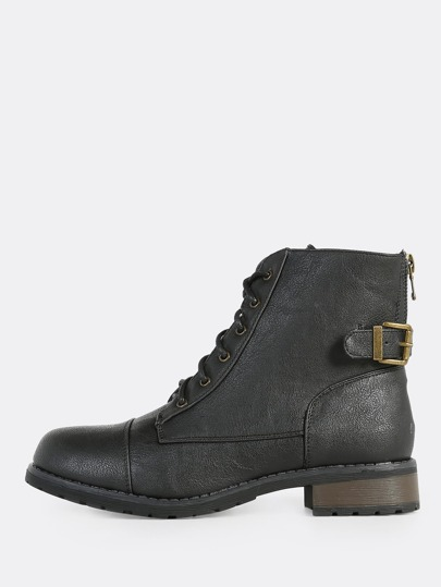 Lace Up Combat Boots BLACK