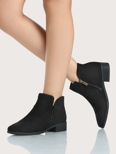 Round Toe Side Slit Booties BLACK