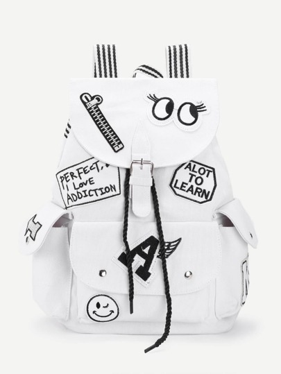 Letter & Cartoon Pattern Backpack With Striped Strap