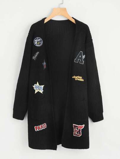Drop Shoulder Patched Longline Cardigan
