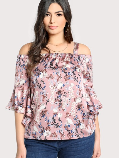 Cold Shoulder Trumpet Sleeve Botanical Top