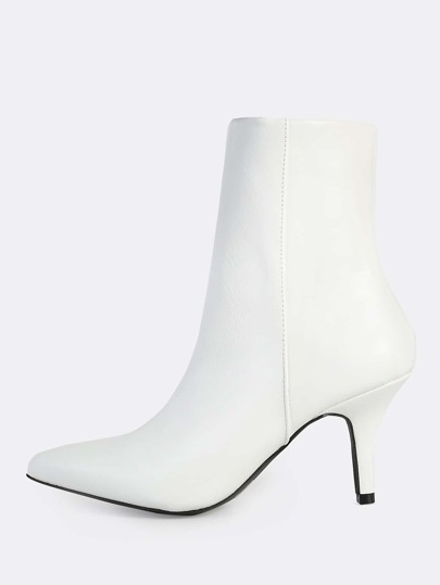 Point Toe PU Heeled Booties WHITE