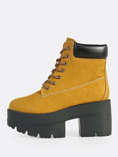 Lace Up Platform Worker Boots WHEAT