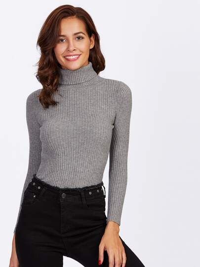 Rolled Neck Ribbed Knit Fitted Sweater