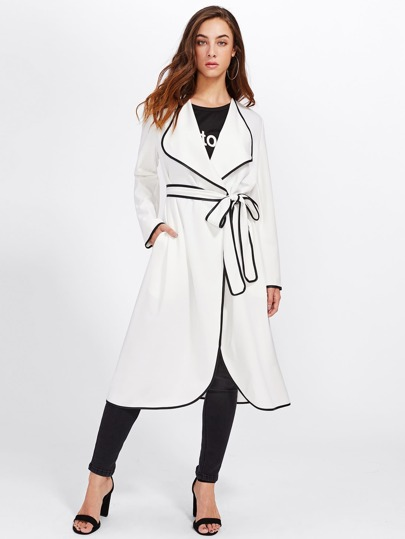 Contrast Binding Drape Collar Wrap Coat