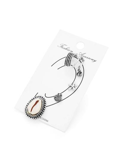 Shell & Starfish Design Stud Earring Set