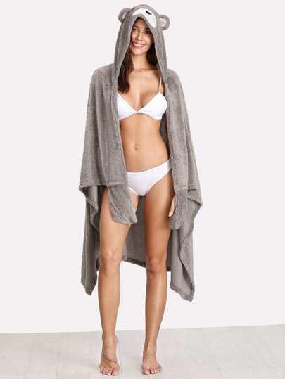 Faux Fur Bear Hoodie Robe