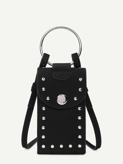Studded Detail PU Pouch Bag