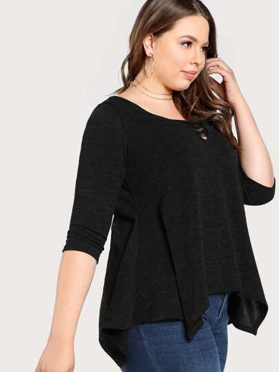 Strappy Front Long Sleeve Top BLACK