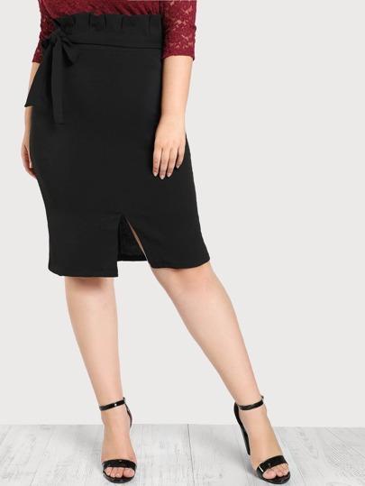 Pleated Waist Knee Skirt
