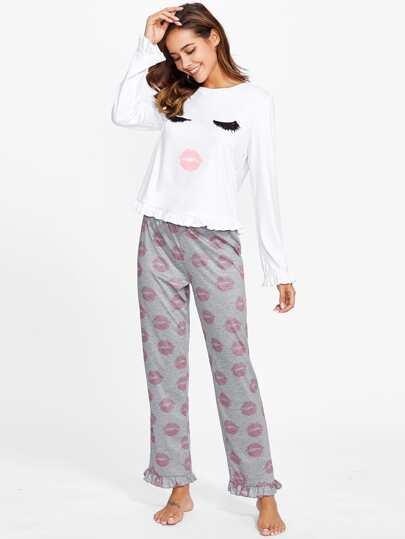 Conjunto de pijama con cara y bajo de volantes