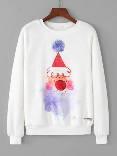 Christmas Print Faux Fleece Pullover