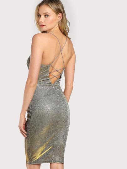 Strappy Holographic Mini Dress SILVER
