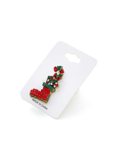 Broche navideño con diseño de calcetín de pedrería