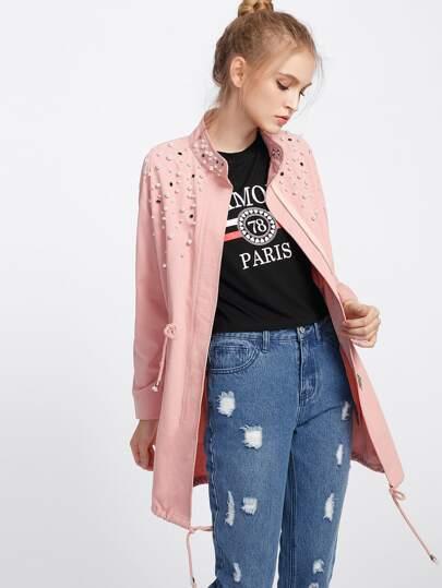 Модная куртка на кулиске с бусинами
