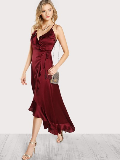 Flounce Trim Open Back Wrap Dress