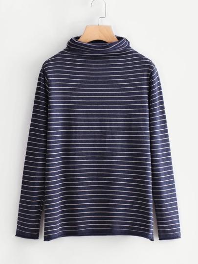 Cowl Neck Striped Knitwear