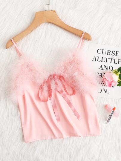 Ribbon Bow And Faux Fur Detail Cami Top