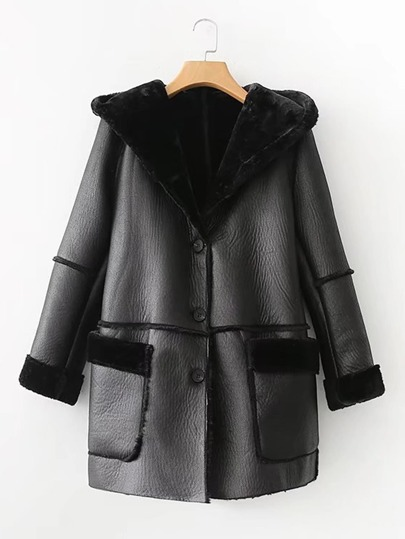 Seam Detail PU Hooded Coat