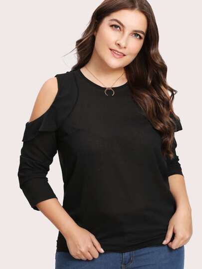 Open Shoulder Ruffle Trim Top