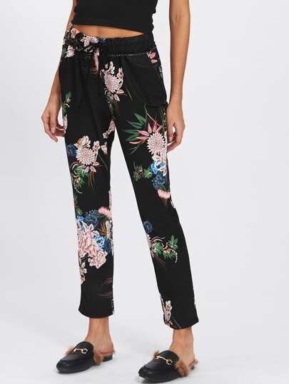 Crop Hosen mit Blumen Kordelzug