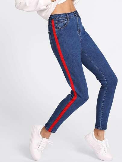 Striped Panel Side Jeans