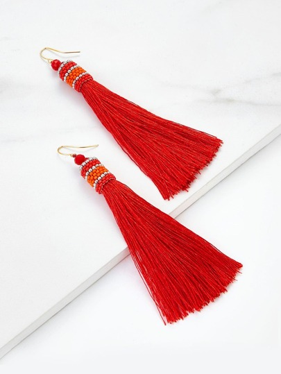 Beads Top Tassel Drop Earrings