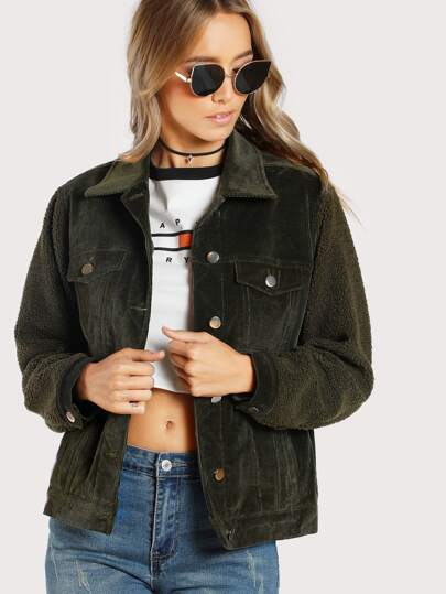 Cord Jacket With Fleece Sleeve
