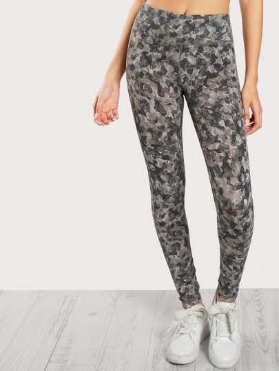 Camo Print Lattice Leggings PRINT
