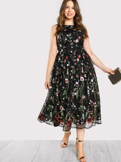 Floral Embroidered Sleeveless Dress MULTI