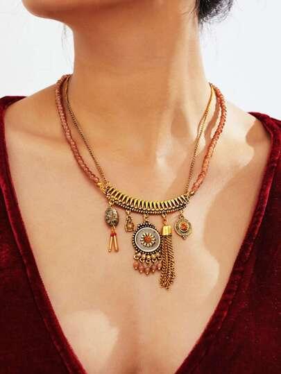 Tassel & Round Pendant Retro Necklace