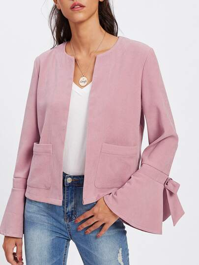 Bow Embellished Bell Cuff Open Front Blazer
