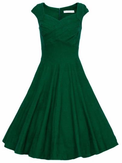 Vestido sin manga con vuelo -verde oscuro