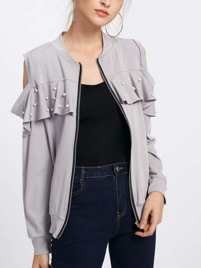 Open Shoulder Pearl Frill Trim Jacket