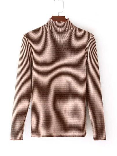 Stand Collar Striped Knitwear