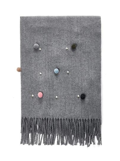 Écharpe avec perle & pompon