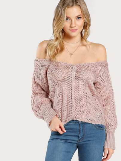 Knitted Off Shoulder Sweater BLUSH