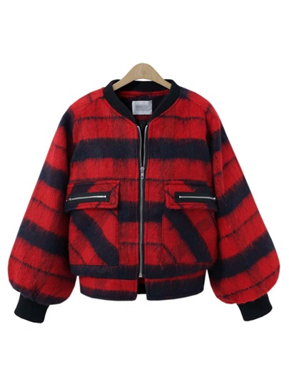 Check Plaid Dual Pocket Coat