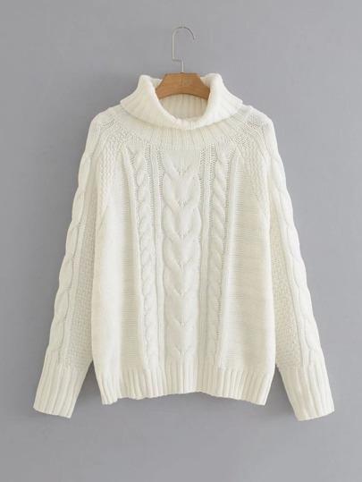 Raglan Sleeve Turtleneck Cable-knit Sweater