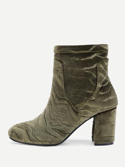 Velvet Block Heeled Ankle Boots