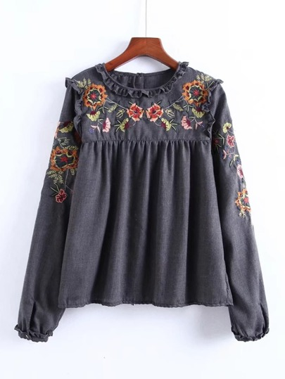 Frill Detail Embroidery Blouse