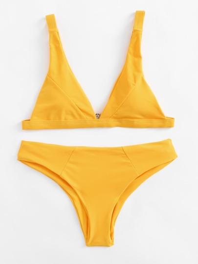 Set de bikini con costuras con tiras ajustables