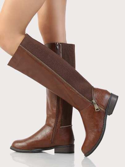Over Sized Zipper Knee High Boots COGNAC