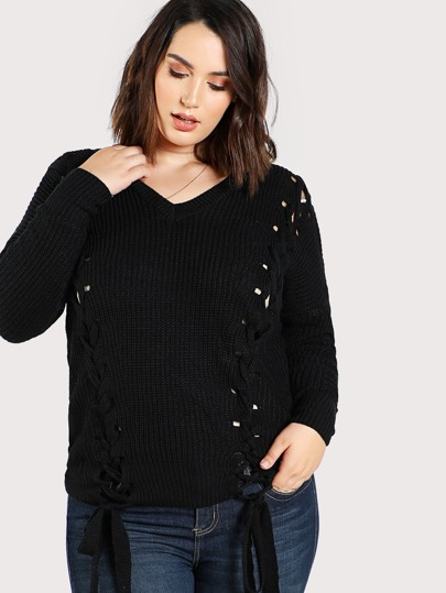 Lace Up Knitted Sweater BLACK