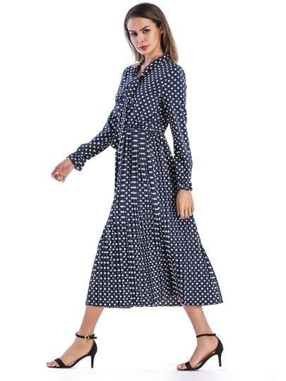 Bow Tie Neck Spot Pleated Dress