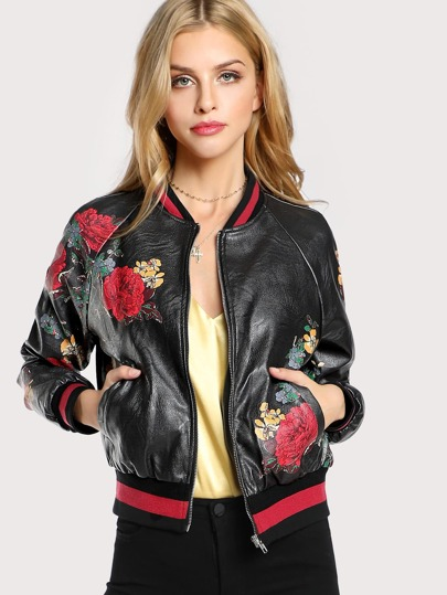Vegan Leather Floral Bomber Jacket BLACK