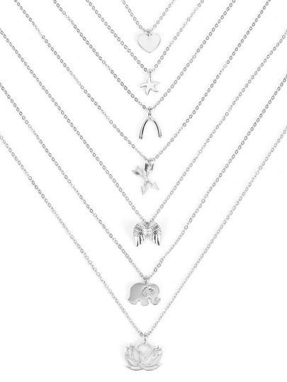 Elephant & Heart & Lotus Pendant Necklace Set