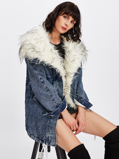 Faux Fur Lined Denim Coat