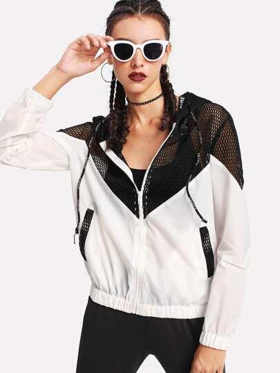 Two Tone Mesh Panel Hooded Jacket